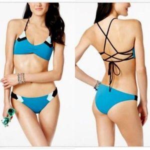 Colorblock Strappy Hipster Bikini Set Teal